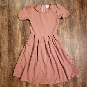 LuLaRoe XS Solid Blush Pink Amelia Dress